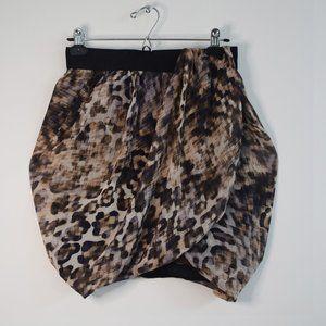 Twist Front Leopard Print Mini Skirt